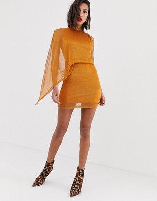 ASOS DESIGN one shoulder metallic chainmail mini dress