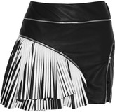 Jay Ahr Two-tone pleated leather mini skirt