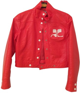Courreges Red Leather Jacket for Women