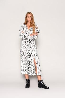 Glamorous Womens **White Ruffle Dalmatian Midi Dress By Multi