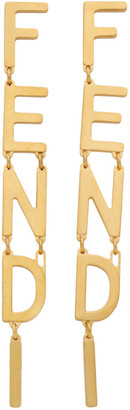 Fendi Gold Logo Charm Earrings