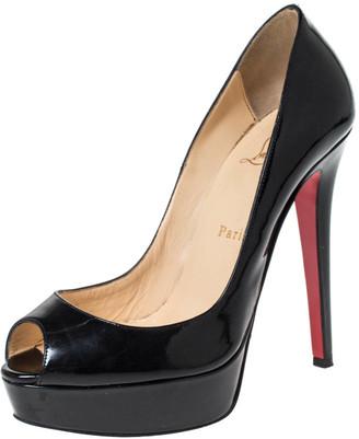 Christian Louboutin Black Patent Leather Lady Peep Toe Platform Pumps Size 37