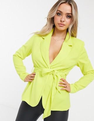 UNIQUE21 tie waist blazer in lime