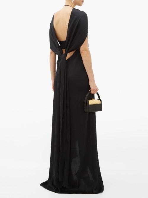 Thumbnail for your product : Roland Mouret Skylark Draped-shoulder Hammered Silk-blend Dress - Black