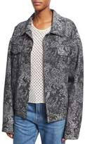 Marc Jacobs Oversized Lace-Print Denim Bomber Jacket, Black