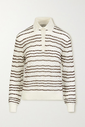 Giuliva Heritage Collection The Emera Striped Linen And Silk-blend Sweater - Brown