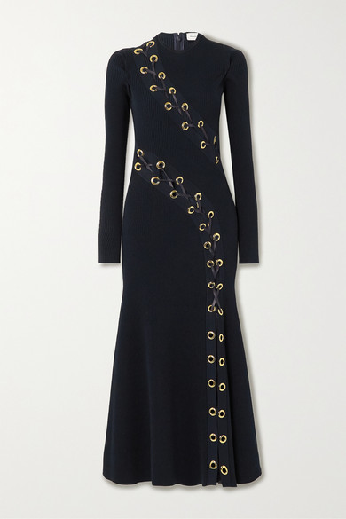 Alexander McQueen Lace-up Leather-trimmed Ribbed-knit Midi Dress - Navy