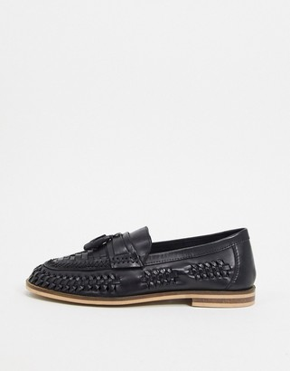 Moss Bros woven loafer in black