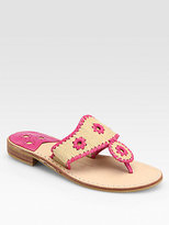 Jack Rogers Woven Raffia & Leather Thong Sandals