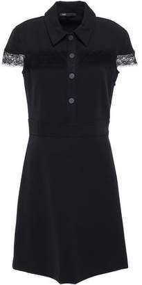 Maje Lace-trimmed Crepe Mini Dress