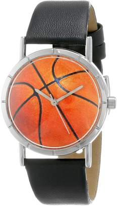 Whimsical Watches Basketball Lover Black Leather and Silvertone Photo Unisex Quartz Watch with White Dial Analogue Display and Multicolour Leather Strap R-0840005