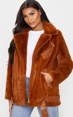 PrettyLittleThing Tan Faux Fur Aviator Jacket u00a0