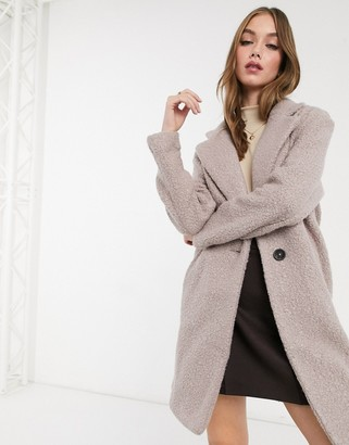New Look teddy boucle tailored coat in mink
