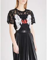 Mo&Co. Fake slogan-print lace T-shirt