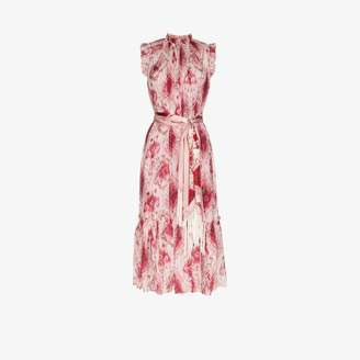 Zimmermann Womens Pink Ikat Print Sleeveless Midi Dress