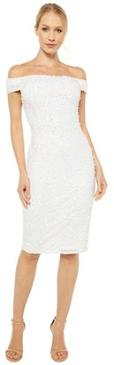 Adrianna Papell Off-the-Shoulder Crunchy Dress (Ivory/Ivory) Women's Dress