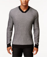 Alfani Men's Big and Tall V-Neck Waffle-Knit Sweater, Regular Fit