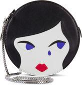 Lulu Guinness Black Leather Doll Face Cross Body Bag