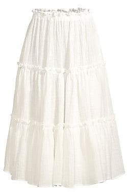 Lisa Marie Fernandez Women's Ruffle Linen-Blend A-Line Peasant Skirt