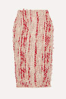 Alexander McQueen Frayed Tweed Pencil Skirt - Blush