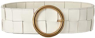 Bottega Veneta Leather Woven Belt in White & Plaster & Gold | FWRD
