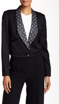 L.A.M.B. Jacquard Lapel Cropped Wool Blend Tuxedo Jacket