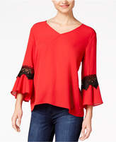 BCX Juniors' Lace-Trimmed Bell-Sleeved Top