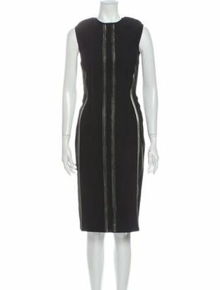 Lanvin Crew Neck Midi Length Dress Black
