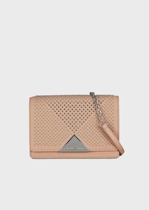 Emporio Armani Mini Cross-Body Bag In Vacchetta Leather With Studs