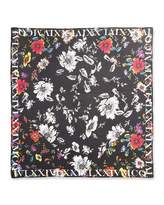 McQ by Alexander McQueen Floral Silk Square Scarf, Black