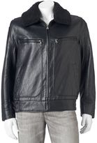 Andrew Marc Men's Distressed Faux-Leather Aviator Jacket