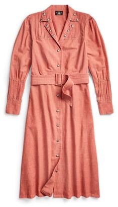 Double RL Ralph Lauren Studded Cotton-Linen Shirtdress