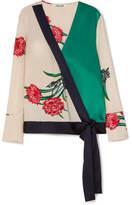 Diane von Furstenberg Printed Silk-satin Wrap Blouse - Ivory