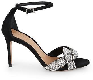 Schutz Jolita Embellished Suede Ankle-Strap Sandals