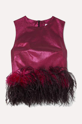 16Arlington Dickinson Cropped Feather-trimmed Lame Top - Magenta