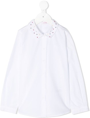 Il Gufo Polka Dot Embroidered Collar Shirt