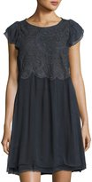 Zadig & Voltaire Shift Dress with Eyelet Top, Charcoal