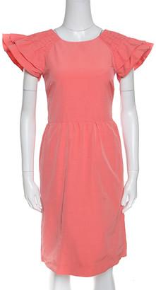 RED Valentino Peach Cotton Blend Smocked Sleeve Detail Sheath Dress S