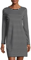 1 STATE 1.STATE Striped Long-Sleeve Shift Dress, Black