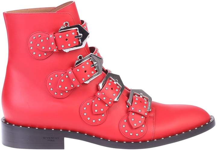 Givenchy Red Studded Ankle Boots