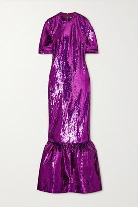 Huishan Zhang Kora Tiered Sequined Tulle Gown - Purple
