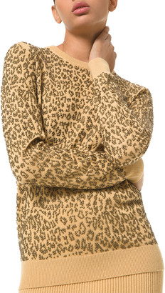 Michael Kors Collection Leopard-Embellished Cashmere Sweater