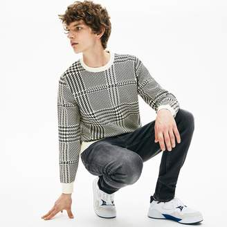 Lacoste Men's Crewneck Houndstooth Cotton And Cashmere Sweater