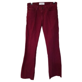 Acquaverde Burgundy Cotton Trousers for Women