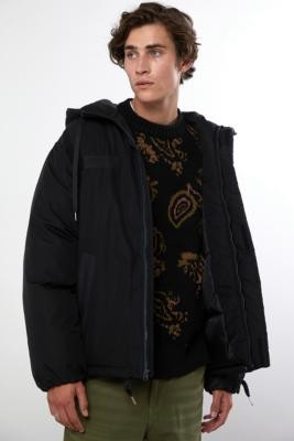 BDG Hooded Black Military Parka Jacket - Black S at Urban Outfitters