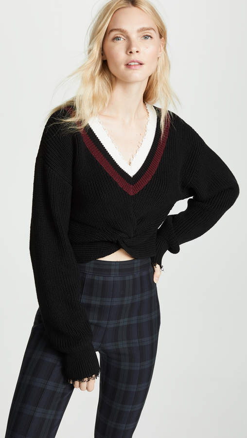 alexanderwang.t Hybrid Meets Varsity Twist Front Sweater