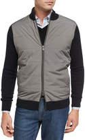 Peter Millar Patterson Full-Zip Melange Sweater, Black