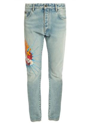 Palm Angels Sacred Heart Medium-Wash Skinny Jeans