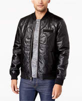 Members Only Men's Quilted Faux Leather Bomber