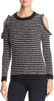 Heather B Striped Cold-Shoulder Sweater